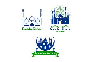 Vector greeting icons for Ramadan Kareem