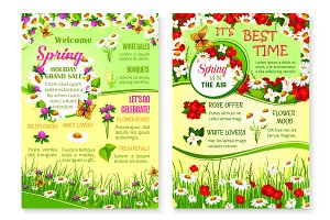 Spring holiday grand sale vector floral posters