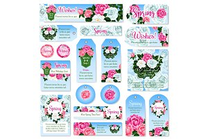 Spring rose flower gift tag and label set design