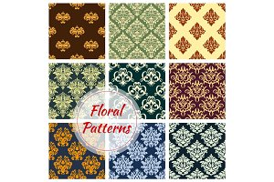 Floral seamless pattern of damask flower ornament