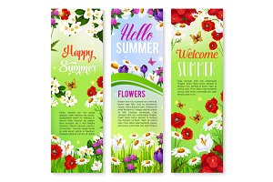 Happy Summer floral greeting banner set design