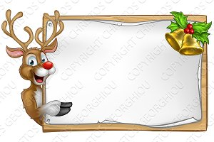 Christmas Santas Reindeer Cartoon Sign