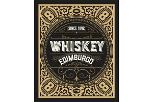 Whiskey card. Vertical design