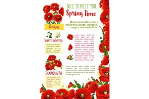 Spring season flower bouquet greeting poster