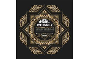 Vintage card iwth floral details. Whiskey Label