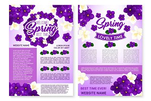 Vector spring poster of violets and orchid flowers