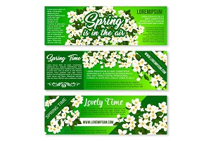 Spring flower bunch banner, flyer template design
