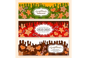 Vector banners set of gingerbread cookies bakery