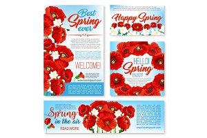 Hello spring floral banner, card, poster template