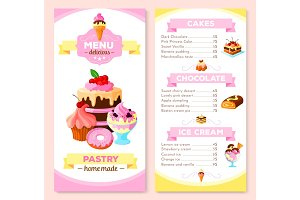 Vector menu template for homemade pastry cakes