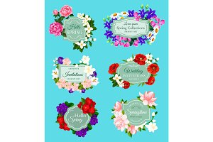 Vector spring flowers bouquets wedding invitations