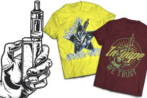 Vape T-shirts And Poster Labels