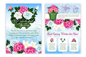 Happy Spring Holiday floral poster template