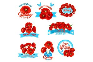 Happy spring, springtime holidays floral icon set