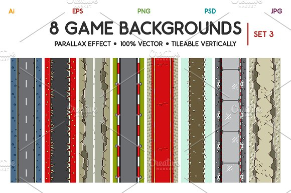 8 Top-Down Game Backgrounds Set 3