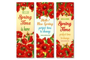 Hello Spring flower greeting banner set design