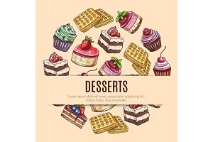 Cake desserts poster for pastry shop design