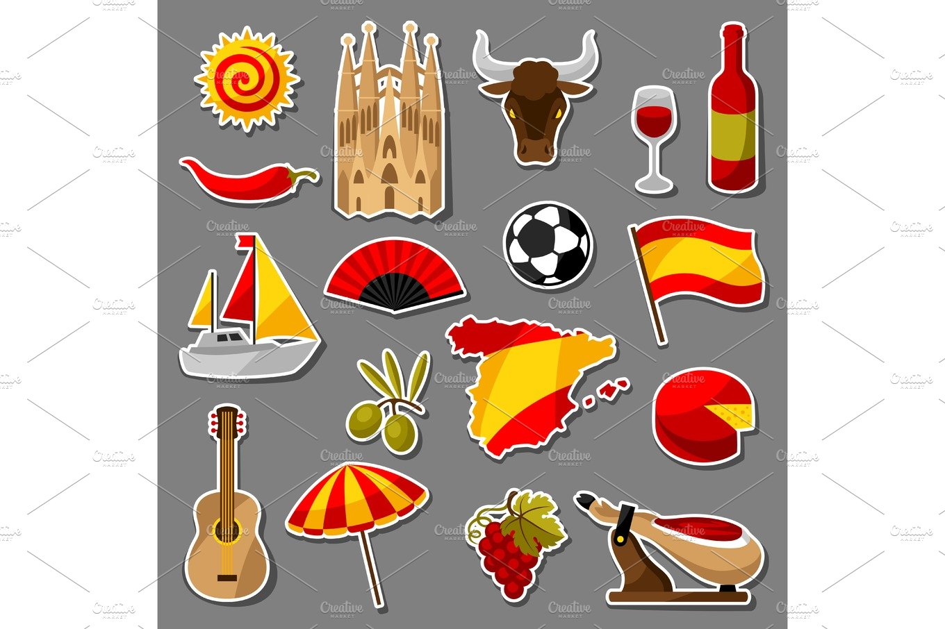 Spain background in shape of sun spanish traditional symbols and spain sticker icons set buycottarizona Images
