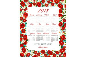 Vector calendar 2018 of spring flowers frame
