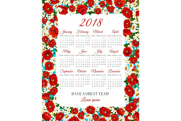 Vector calendar 2018 of spring flow…