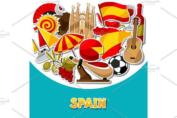 Spain Background Design Spanish Traditional Sticker Symbols And Objects