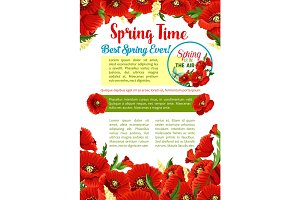 Spring season flower greeting poster template
