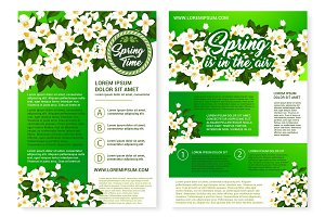 Spring flower greeting poster and flyer template