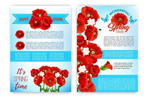 Spring floral poster template with flowers
