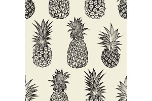 Seamless pattern with pineapples