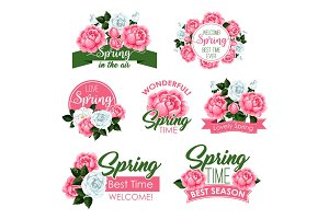 Spring holidays flowers icon with rose and peony