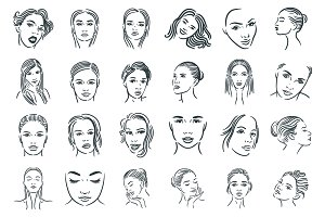 Woman faces set