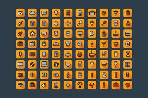 Set of 80 flat web icons