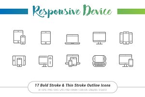 17 Responsive Outline Stroke Icons