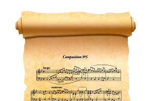 Old scroll with musical composition
