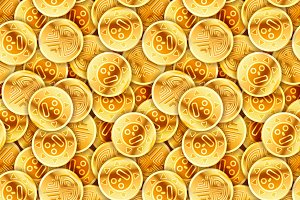 Placer of old golden coins