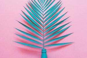 turquoise palm leaf