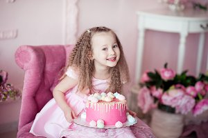 Happy child with cake