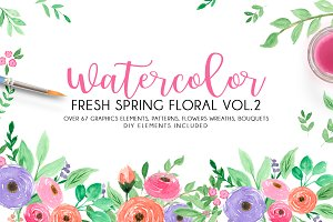 Watercolor fresh spring floral vol.2