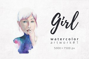 Think. Girl. Watercolor artwork #1