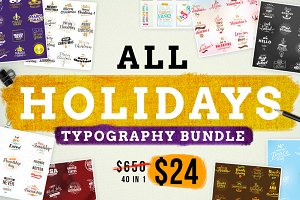 ALL HOLIDAYS TYPOGRAPHY BUNDLE