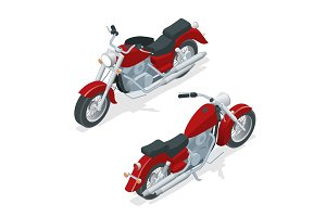 Isometric motorcycle or motorbike isolated on white background. The concept of freedom and travel