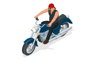 Isometric biker on a motorcycle on the road. The concept of freedom and travel.