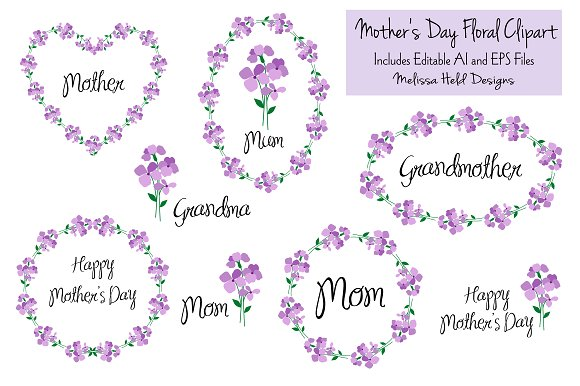 Mother's Day Floral Clipart