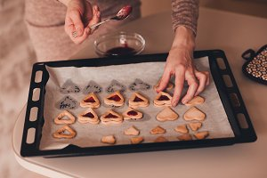 Making jam cookies