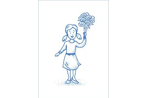Small happy girl with flowers. Blue line illustration. Hand drawn design.