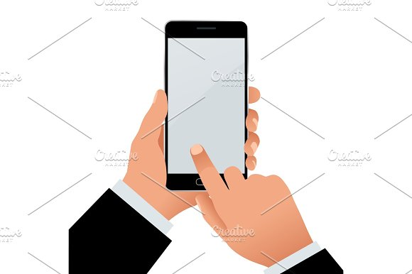 Male hand holding a phone with blank screen. Flat Isolated illustration on white background