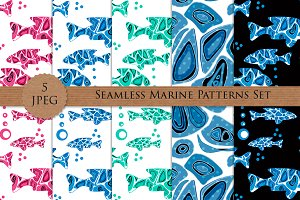 MARINE FISH seamless patterns set
