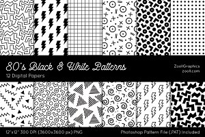 80's Black & White Digital Papers
