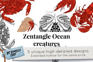 Zentangle inspired ocean creatures
