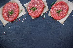 Fresh raw burger cutlets